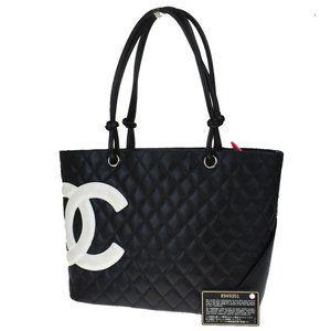 Authentic CHANEL CC Cambon Shoulder Bag Leather